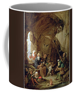 The Temptation Of St. Anthony In A Rocky Cavern Oil On Canvas Coffee Mug
