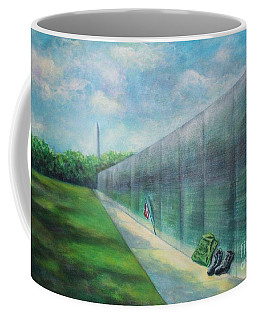 Coffee Mug featuring the painting The Vietnam Wall And The Soldier by Randol Burns