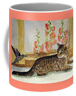 Coffee Mug featuring the painting The Visitor by Angela Davies