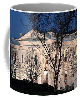 Coffee Mug featuring the photograph The White House At Dusk by Cora Wandel