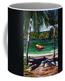 Coffee Mug featuring the painting The Yellow And Red Boat by Laura Forde