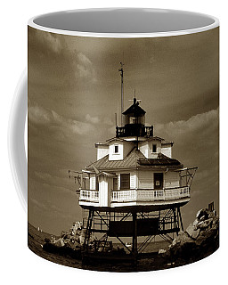 Thomas Point Shoal Lighthouse Sepia Coffee Mug by Skip Willits