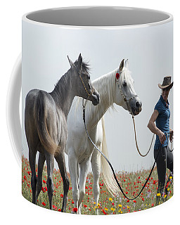 Coffee Mug featuring the photograph Three At The Poppies' Field... 1 by Dubi Roman