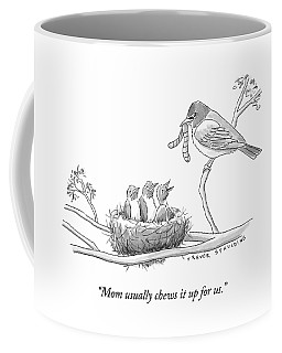 Three Baby Birds In A Nest Talk To A Grown Bird Coffee Mug