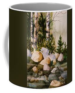 Three Birch By Rocky Stream Coffee Mug