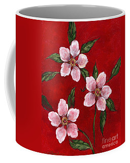 Three Blossoms On Red Coffee Mug