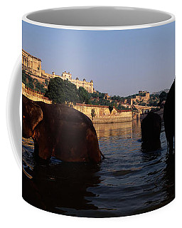 Three Elephants In The River, Amber Coffee Mug