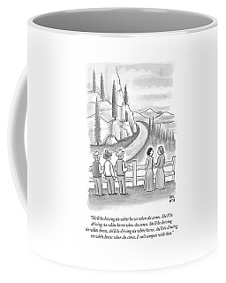 Three Frontiersmen And Two Women Watch A Mountain Coffee Mug