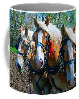Three Horses Break Time  Coffee Mug