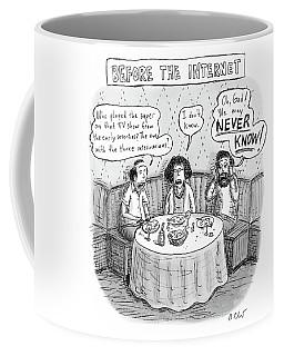 Three Late-middle Aged People Sitting Coffee Mug