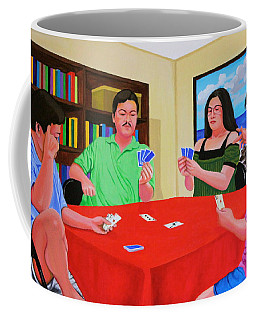 Three Men And A Lady Playing Cards Coffee Mug by Cyril Maza