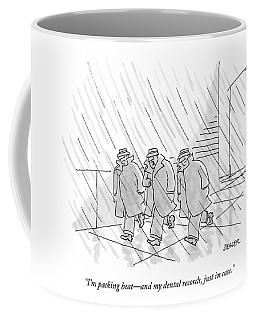 Three Men In Trench Coats Walk Down The Street Coffee Mug
