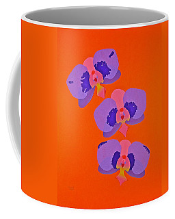 Coffee Mug featuring the mixed media Three Orchids by Michele Myers