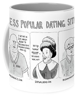 Three Panel Cartoon Of Online Dating Profiles Coffee Mug