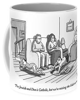 Three People Are Sitting In A Living Room Coffee Mug