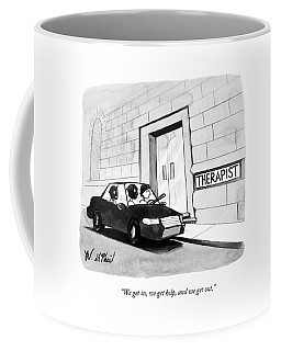 Three Robbers Sit In A Car Outside A Building Coffee Mug