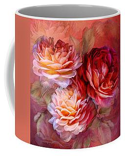 Coffee Mug featuring the mixed media Three Roses - Red by Carol Cavalaris
