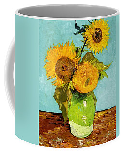 Three Sunflowers In A Vase Coffee Mug by Vincent Van Gogh
