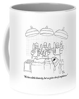 Three Surgeons Wearing Foam Fingers Speak Coffee Mug