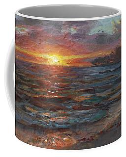 Through The Vog - Hawaii Beach Sunset Coffee Mug by Karen Whitworth