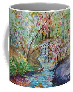 Coffee Mug featuring the painting Thunder Mountain Mystery by Ellen Levinson