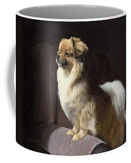 Tibetan Spaniel Painting Coffee Mug by Rachel Stribbling