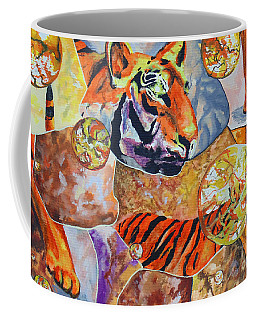 Coffee Mug featuring the painting Tiger Mosaic by Daniel Janda