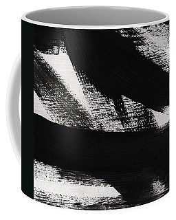 Timber 2- Horizontal Abstract Black And White Painting Coffee Mug