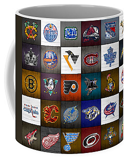 Time To Lace Up The Skates Recycled Vintage Hockey League Team Logos License Plate Art Coffee Mug