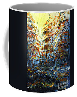 Coffee Mug featuring the painting Tim's Autumn Trees by Holly Carmichael