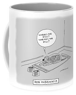 Title: Dog Insomnia. A Dog At Night Thinking Coffee Mug