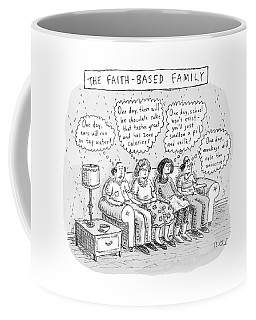 Title: The Faith-based Family. A Family Sits Coffee Mug