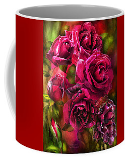 Coffee Mug featuring the mixed media To Be Loved - Red Rose by Carol Cavalaris