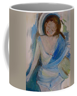Coffee Mug featuring the painting To The Beach by Laurie Lundquist
