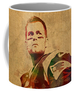 Tom Brady New England Patriots Quarterback Watercolor Portrait On Distressed Worn Canvas Coffee Mug
