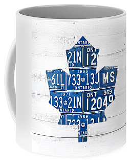Toronto Maple Leafs Hockey Team Retro Logo Vintage Recycled Ontario Canada License Plate Art Coffee Mug by Design Turnpike