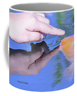 Touching The Koi.  Coffee Mug