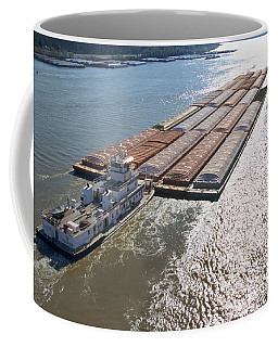 Towboats And Barges On The Mississippi Coffee Mug by Garry McMichael