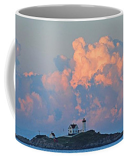 Towering Clouds Over Nubble Lighthouse York Maine Coffee Mug