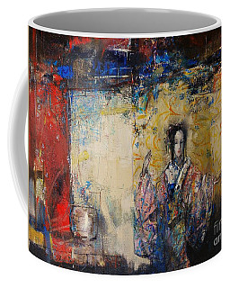 Traditional Dance In Front Of A Yellow Curtain Coffee Mug