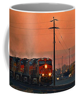 Coffee Mug featuring the photograph Train Coming Through by Lynn Hopwood