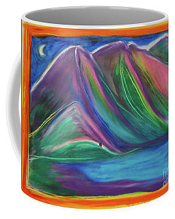 Coffee Mug featuring the painting Travelers Mountains By Jrr by First Star Art
