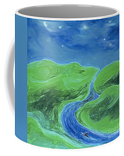 Coffee Mug featuring the painting Travelers Upstream By Jrr by First Star Art