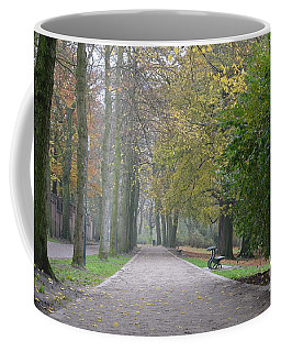 Coffee Mug featuring the photograph Tree Lined Path In Fall Season Bruges Belgium by Imran Ahmed