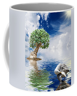 Tree Seagull And Sea Coffee Mug by Antonio Scarpi