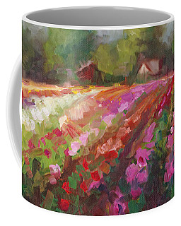 Coffee Mug featuring the painting Trespassing Dahlia Field Landscape by Talya Johnson