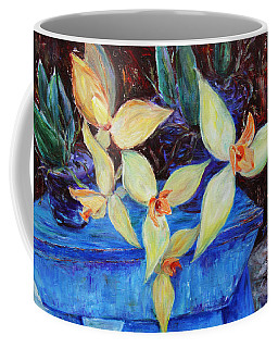 Coffee Mug featuring the painting Triangular Blossom by Xueling Zou