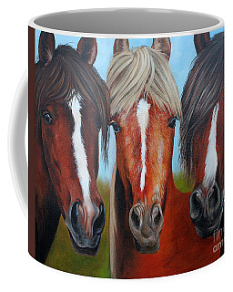 Coffee Mug featuring the painting Trio by Debbie Hart