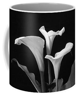 Trio Of White Calla Lilies In Black And White Coffee Mug