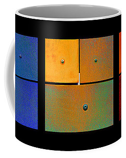 Triptych Blue Green Red - Colorful Rust Coffee Mug
